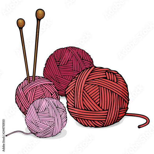 Balls of different colors of wool for knitting and knitting needles Fototapet