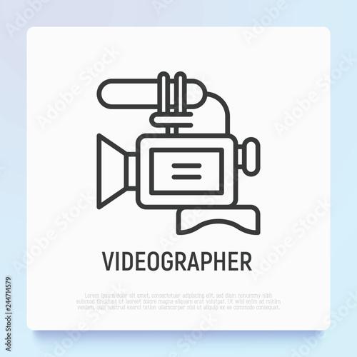 Fotografie, Obraz  Video camera thin line icon
