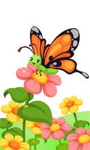 Cute Butterfly On Flower