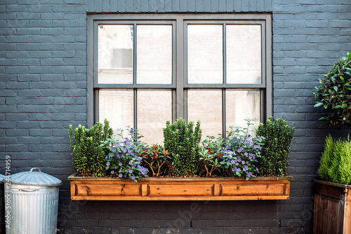 Beautiful windows with flowers on a black facade house