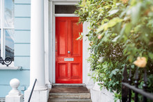 Beautiful Red Door In A White ...