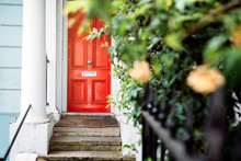 Beautiful Red Door In A White House Facade In Notting Hill
