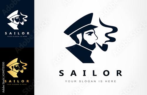 Carta da parati sailor, ship captain logo vector