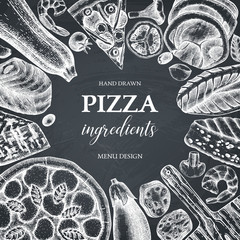Fototapeta Do pizzerii Vector frame with hand drawn pizza ingradients sketches. Vintage menu, card, invitation, flyer or packaging design template. Top view fast food illustration.