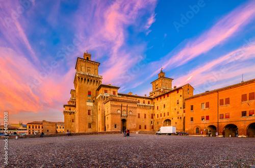 Castle Estense (Castello Estense) in Ferrara, Emilia-Romagna, Italy. Ferrara is capital of the Province of Ferrara