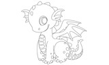 Fototapeta Dinusie - Cute dragon cartoon drawing to color
