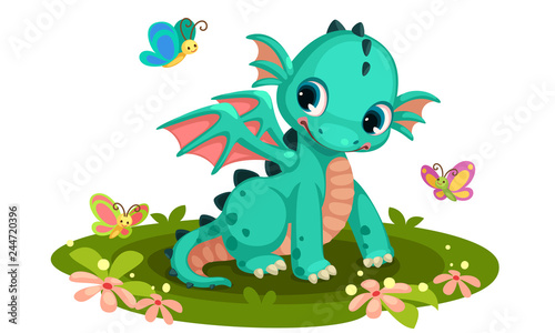 Cute green baby  dragon cartoon with butterflies