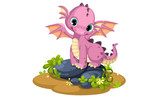 Fototapeta Dino - Cute pink baby dragon cartoon