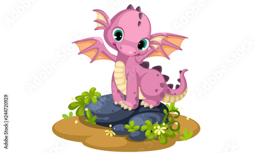 Obraz na plátně Cute pink baby dragon cartoon