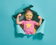 Leinwandbild Motiv child playing superhero