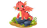 Fototapeta Dinusie - Cute red baby dragon cartoon