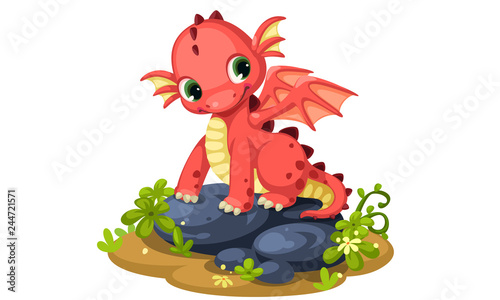 Cute red baby dragon cartoon