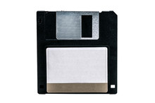 Old Computer Floppy Disk On Wh...