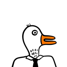 White Duck Head Of Businessman...