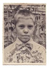 Vintage Portrait Photo Of Little Boy Isolated