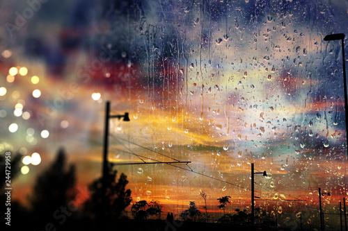 Fototapeta Día lluvioso por la ventana