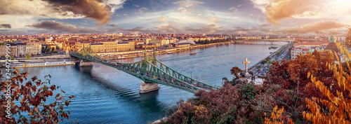 Aerial panorama of Budapest, Hungary. Sunset over the city with the Liberty Bridge, the Danube river. - 244729990