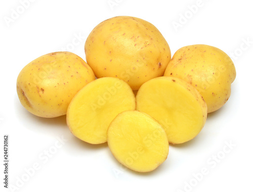 Potatoes sliced vegetable isolated on white background. Flat lay, top view