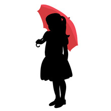 White Background, Black Silhouette Of A Child Girl With An Umbrella