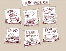 Classic English Pub Meals Hand Drawn Vector Labels