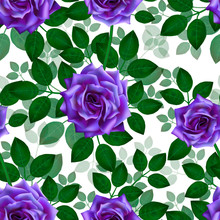 Seamless Pattern With Blue Roses. Beautiful Realistic Flowers With Leaves. Photorealixtic Rose Bud, Clean Vector High Detailed Result