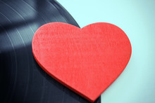 Heart And Vinyl Record, Valentine's Day Concept