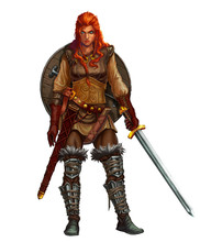 Girl Viking Fighter With Sword...