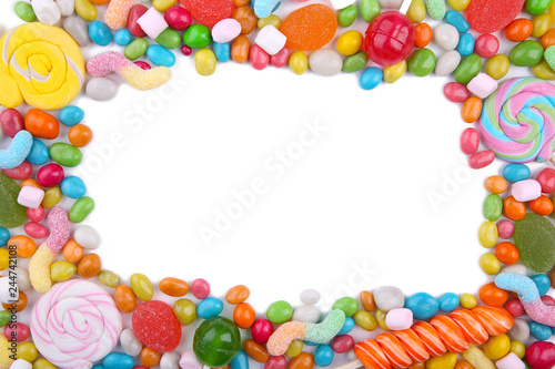 Poster Confiserie Colorful lollipops and different colored round candy isolated