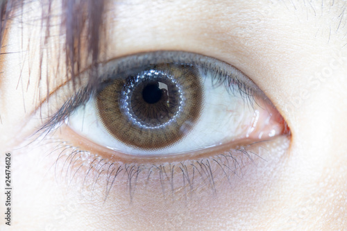 Fotografia, Obraz  Close up of beautiful woman eye and contact lens.