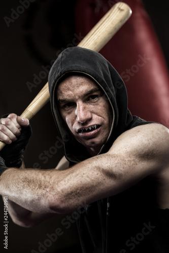 Fotografie, Obraz  Man with Baseball Bat and Hood