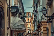 Sorrento Duomo Seen Through A Narrow Alley In Old Town