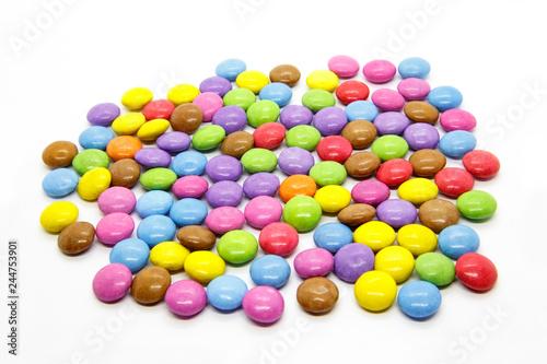 Printed kitchen splashbacks Cat Bright multicolored glazed chocolate candies on white