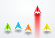 Coorful Group Of Paper Planes  Launch. Red Paper Plane Most Faster Then Others Or Rockets  Business Competition, Start-up, Boost Or Success Concept