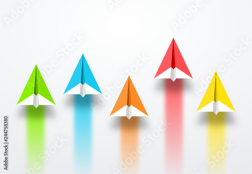 Photo  colorful paper planes or rockets , Business competition, start-up, boost or success concept