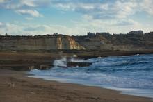 Beautiful Evening View Of The Cliffs On Toxeftra Beach. Akamas Peninsula, Cyprus