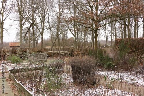 Kleiner Garten Im Winter Im Nationalpark De Groote Peel In Holland