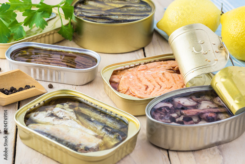 Varieties of canned fish.