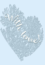 Gentle Inscription With Love On A Background Of Blue Hearts
