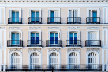 decorated and classical facade in Madrid city