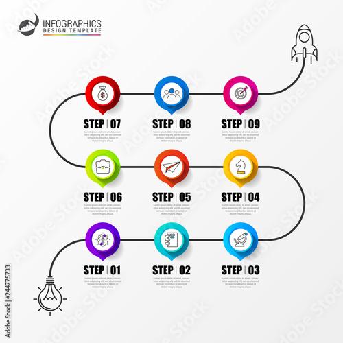 Fotografia  Infographic design template. Timeline concept with 9 steps