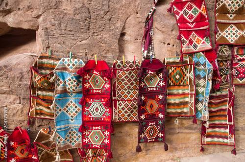 Fotografie, Obraz  Colorful  woolen bedouin rugs, Petra, Jordan