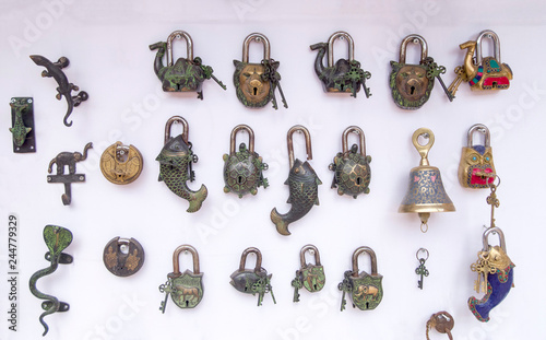 Photo  Metal padlocks with shape of animals, Petra, Jordan