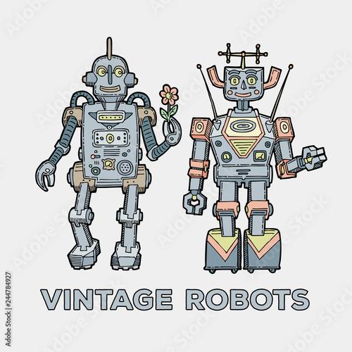 Deurstickers Robots Retro robots set. Happy vintage robotics collection. Cute sketch classic mechanical toys.