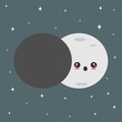 cute cartoon vector lunar eclipse concept illustration