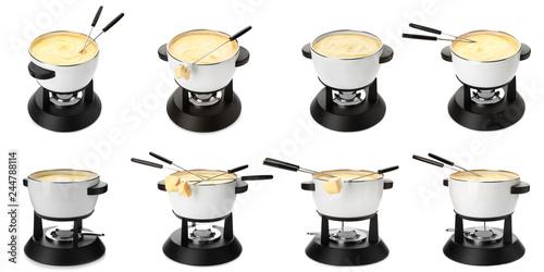 Modern fondue set on white background. Kitchen equipment