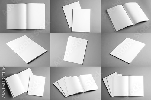 Fototapeta Set of different blank brochures on grey background. Mock up with space for text obraz