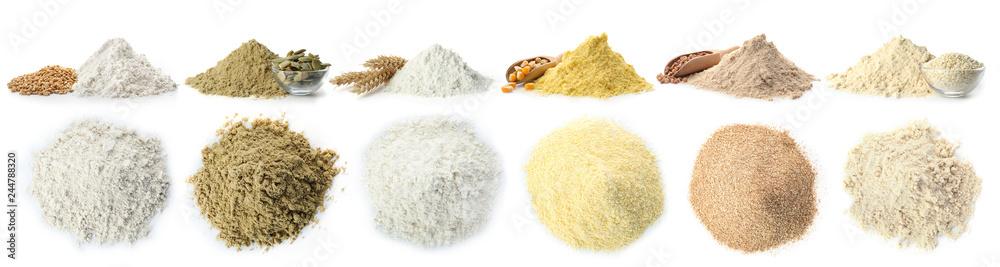 Fototapety, obrazy: Heap of wheat flour on white background