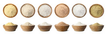 Set Of Organic Flour In Wooden...