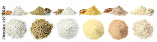Foto Heap of wheat flour on white background