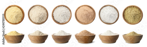 Poster Graine, aromate Set of organic flour in wooden bowls on white background